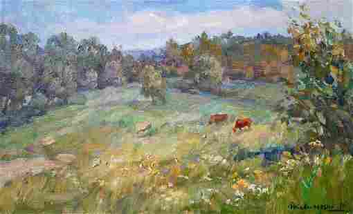 Oil painting Horses on the lawn Kovalenko Ivan