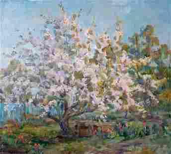 Oil painting Blooming vegetable garden Kovalenko Ivan