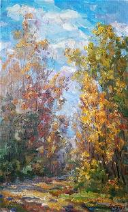 Oil painting Sunny day in the forest Kovalenko Ivan