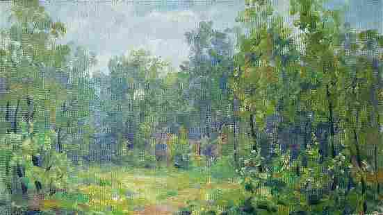 Oil painting Green dense forest Kovalenko Ivan