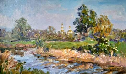 Oil painting A stream outside the city Kovalenko Ivan
