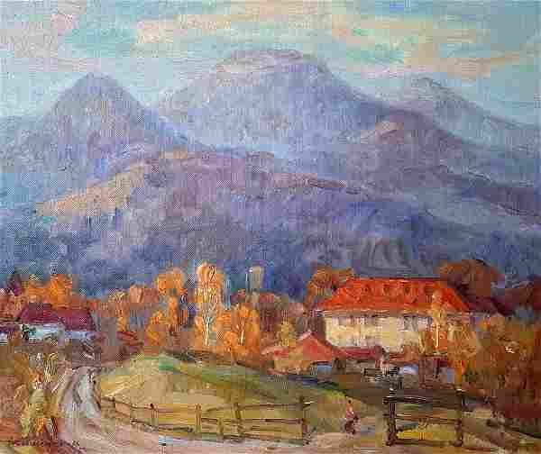 Oil painting Village in the mountains Kovalenko Ivan