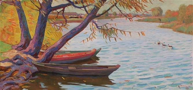 Oil painting River landscape Kulyk I.
