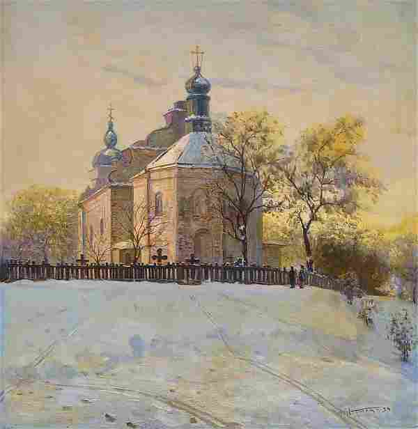 Oil painting Landscape with a church Tyukha Ivan
