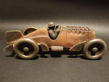 """Cast Iron Toy Race Car w Moving Pistons """"Hubley"""""""