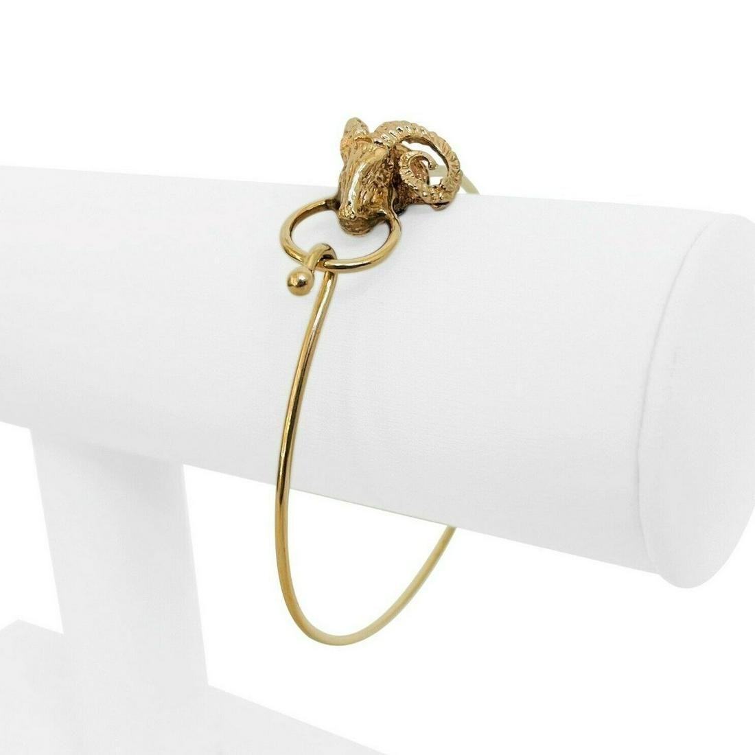 14k Yellow Gold 9.7g Ladies Ram's Head Motif Wire Flex