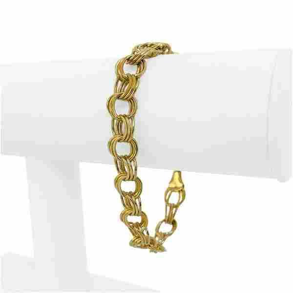 14k Yellow Gold 17.4g Ladies 10mm Tripe Circle Link