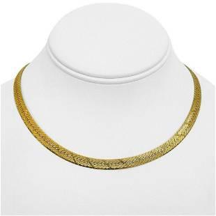 14k Yellow Gold 24g Solid 6.5mm Diamond Cut Herringbone