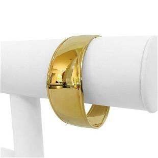 10k Yellow Gold 10.6g Ladies Wide 25mm Cuff Bracelet