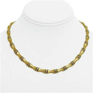 14k Yellow Gold 26.9g Ladies 6.5mm Bamboo Link Chain