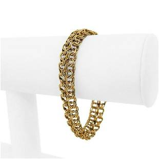 14k Yellow Gold 19.7g Ladies 6mm Double Circle Curb