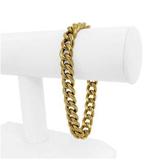 14k Yellow Gold 29.7g Hollow Thick 10mm Curb Link