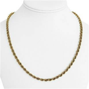14k Yellow Gold 11.2g Hollow Light 4mm Rope Chain