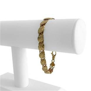 14k Yellow Gold 9.9g Ladies Fancy Leaf Link Bracelet