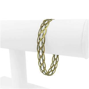14k Yellow White Gold Two Tone Braided Herringbone Link
