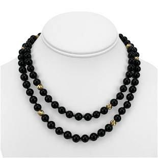 14k Yellow Gold and 8mm Onyx Ball Bead Long Necklace
