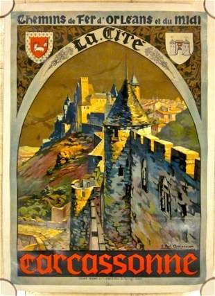"Carcasonne - Art by Paul Champseix (1925) 29.5"" x"