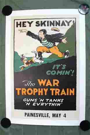 """The War Trophy Train (USA, 1918) 37 1/4"""" x24 1/2"""" War"""