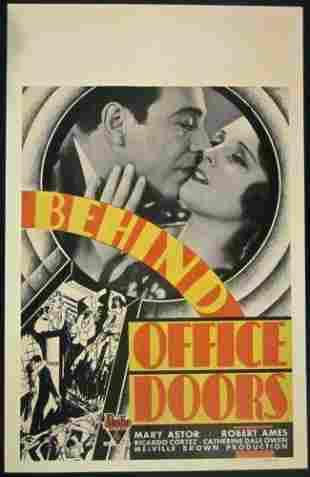 BEHIND OFFICE DOORS -ORIGINAL 1931 WINDOW CARD POSTER-