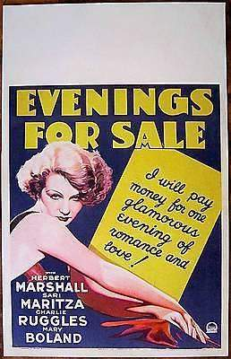 EVENINGS FOR SALE '32 WC POSTER HERBERT MARSHALL
