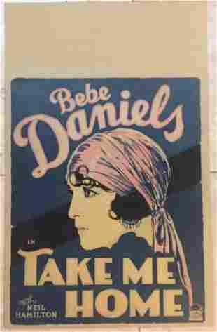 TAKE ME HOME - ORIGINAL 1928 WINDOW CARD POSTER - BEBE