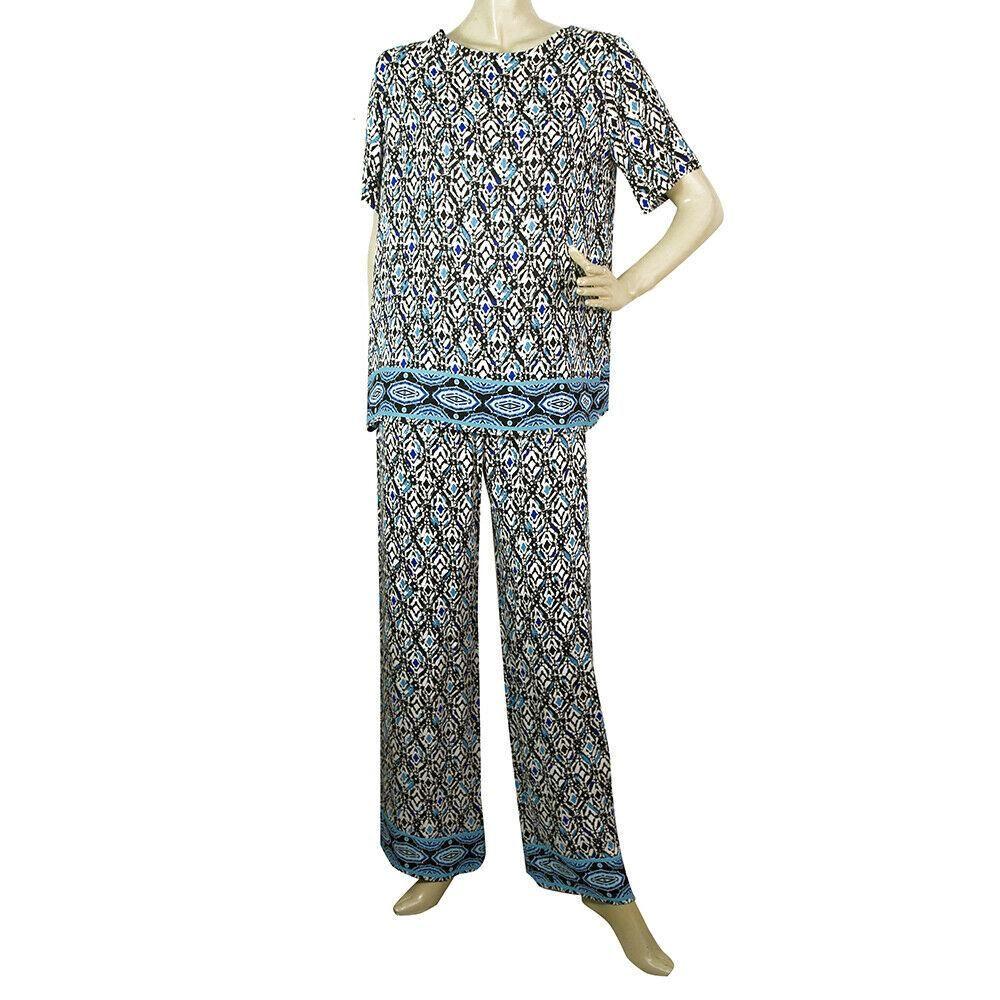 Fuzzi Blue & Black Pattern Tunic Top and Pants Trousers
