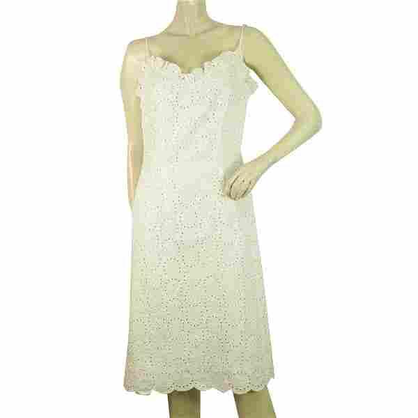 Moschino Jeans White Broderie Knee Length Sleeveless