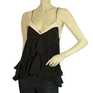 Juicy Couture Black Ruffled Tiered Silk Spaghetti Strap