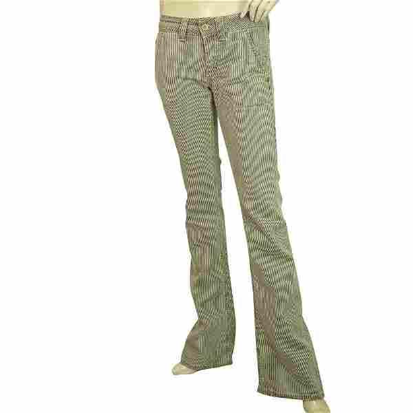 Dondup Bianca Beige & Black Stripes Flare Leg Bootcut