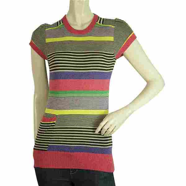 Ted Baker Multicolor Stripes Short Sleeves Ribbed