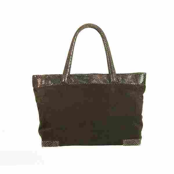 Max Mara Burgundy Suede & Snakeskin Leather Large
