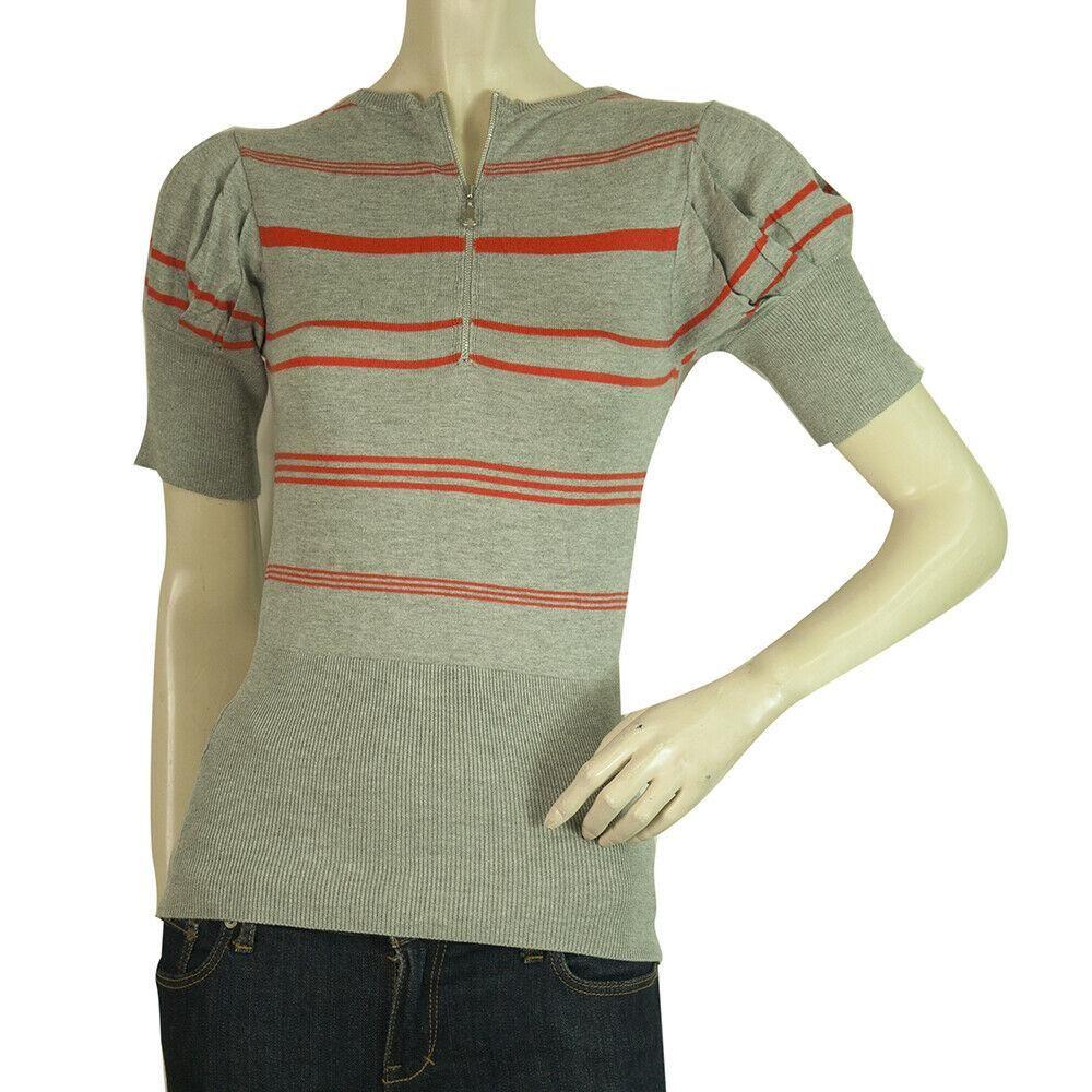 Ted Baker Gray Orange Stripes Short Sleeves Zipper