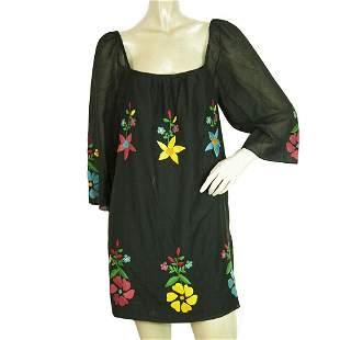 Tibi Black Flowers Embroidery Boho Kaftan Style Hippie