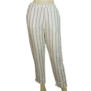 Crossley Striped White Light Gray Pants 100% Linen