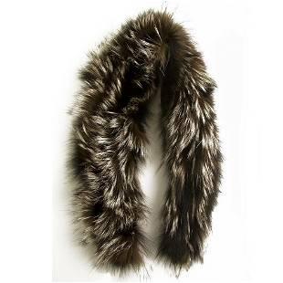 Brown Gray Genuine Fur Collar Small Scarf