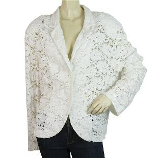 Marcello Cioni White Lace Floral Padded Shoulders Short