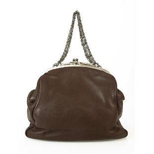 Lanvin Brown Leather Kiss Lock Framed Top Clutch Chain