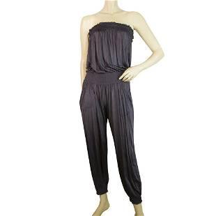Purple Women's Semi Sheer Silky Strapless Overall