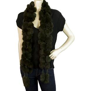 Black Long Rabbit Fur Pom Poms Evening Long Scarf Shawl