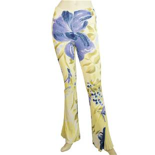 Yellow Blue Floral Pattern Flare Pleats at the Cuffs