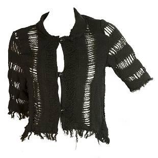Point Loom Weaving Works Black Bolero Top Cardigan