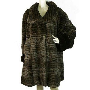 Genuine Rabbit Fur Brown Knee Length Style Fur Jacket