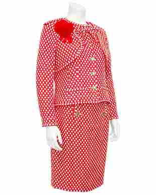 Chanel Red and White Tweed Skirt Suit