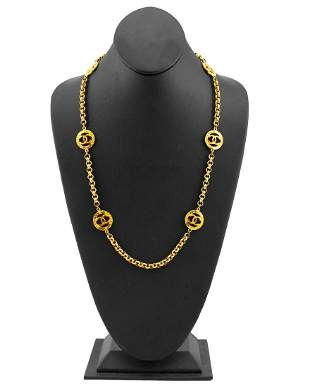 Chanel Gold Chain Necklace with Logos