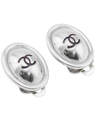 Chanel Spring 1999 Silver Oval CC Logo Earrings