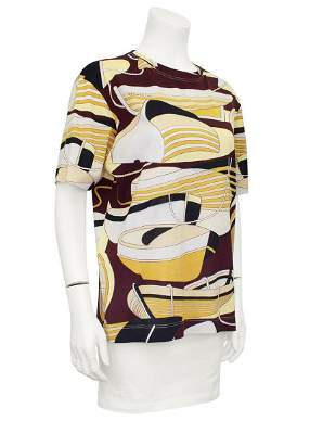 Hermes Brown Nautical Print Cotton Silk Blend T-Shirt