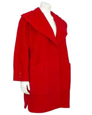 Valentino Red Wool Swing Coat