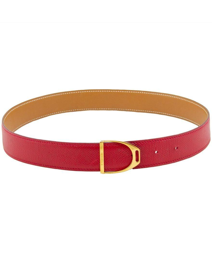 Hermes Red Leather Stirrup Buckle Belt