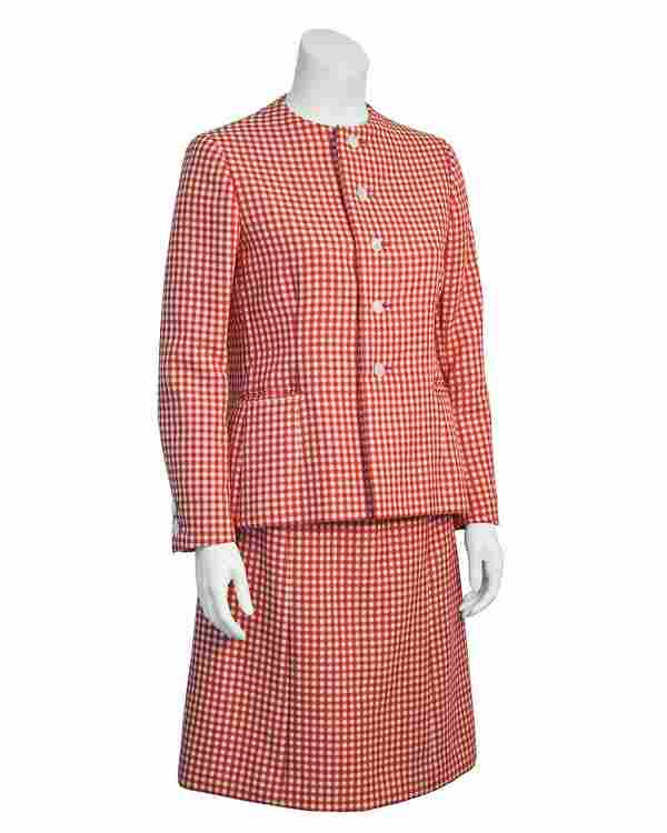 Norman Norell Red and White Gingham Skirt Suit