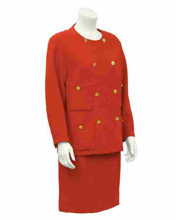 Chanel Red Double-Breasted Boucle Skirt Suit